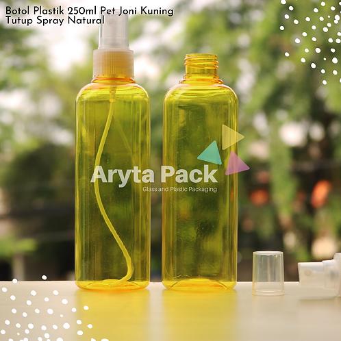 Botol plastik PET 250ml joni kuning tutup spray natural
