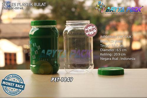 Toples plastik PET 450ml bulat tutup hijau