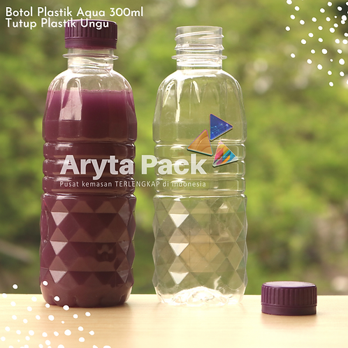 Botol plastik pet 300ml aqua tutup segel ungu