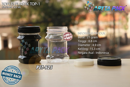 Toples plastik PET 125ml TOP-1 tutup hitam