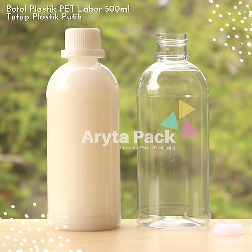 Botol plastik PET 500ml labor tutup segel putih