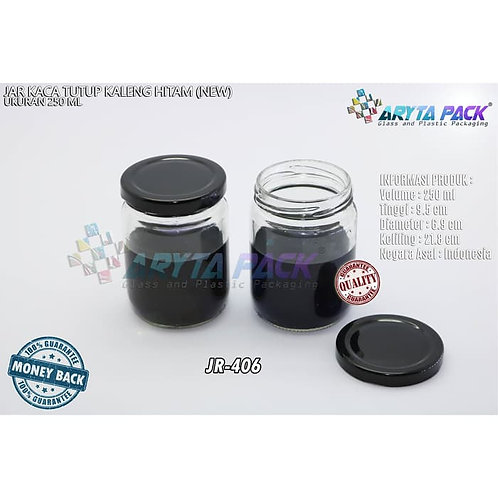 Jar kaca 250ml tutup kaleng hitam new