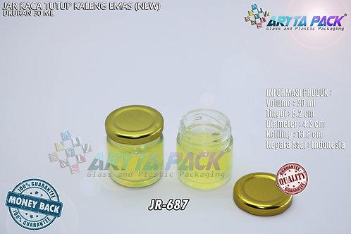 Jar kaca 30ml bulat tutup kaleng emas new
