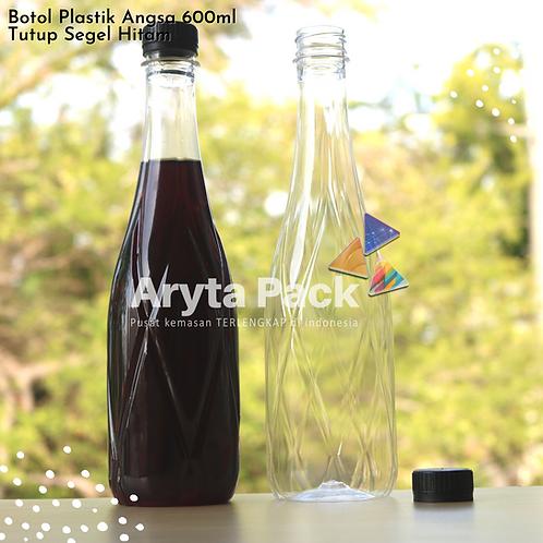 Botol plastik minuman 630ml angsa tutup segel hitam
