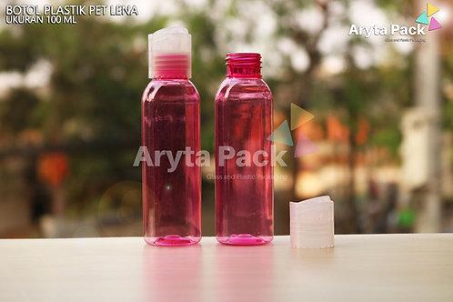Botol plastik PET Lena 100ml  pink tutup press on natural