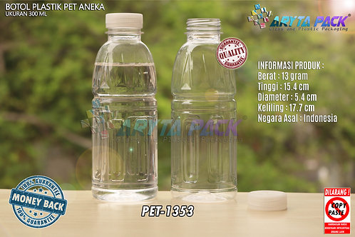 Botol plastik pet 300ml aqua aneka tutup segel natural