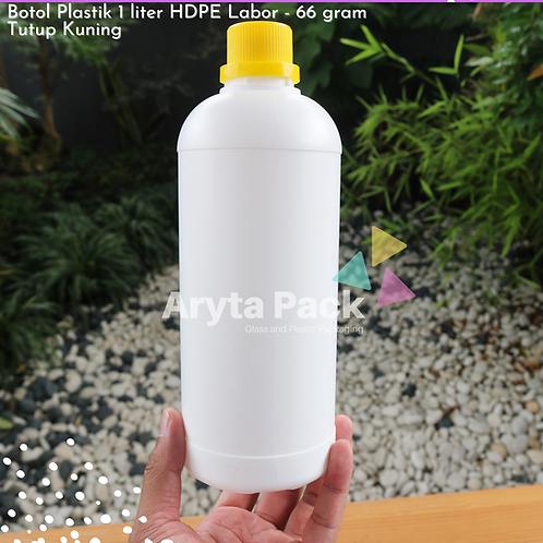 Botol plastik HDPE 1 liter labor putih susu tutup kuning