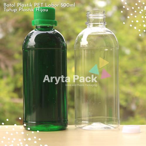 Botol plastik PET 500ml labor tutup segel hijau