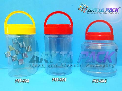 Toples plastik PET 1 liter astor tinggi tutup kuning