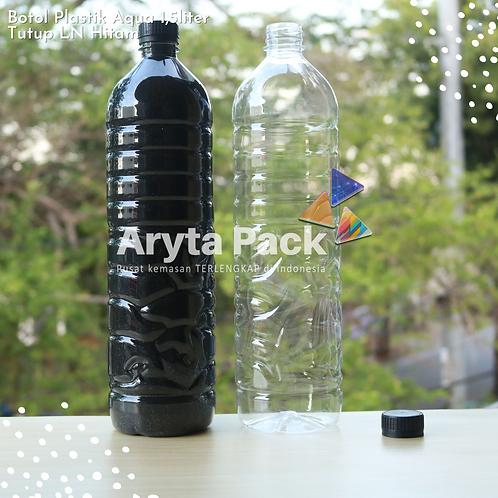 Botol plastik pet 1,5liter aqua tutup segel hitam
