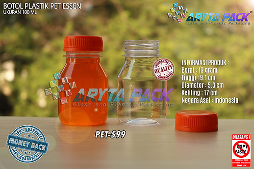 Botol plastik minuman 100ml essen tutup orange segel