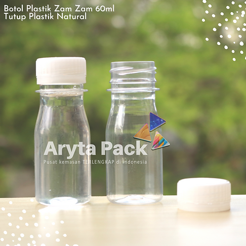 Botol plastik PET 60ml zam-zam tutup segel natural