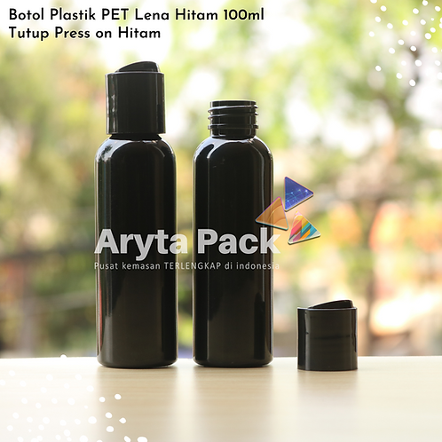 Botol plastik PET Lena 100ml  hitam tutup press on hitam