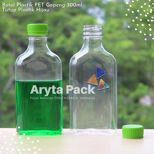 Botol plastik minuman gepeng 300ml tutup segel hijau