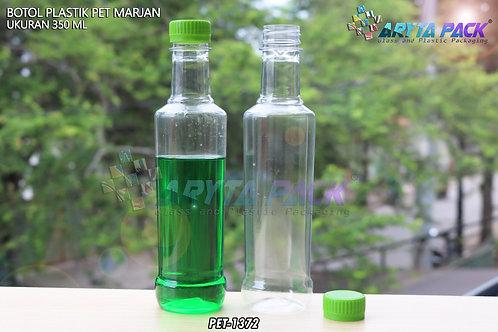 Botol plastik minuman 350ml marjan kecil tutup hijau