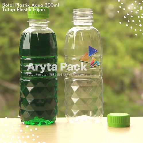 Botol plastik pet 300ml aqua tutup segel hijau