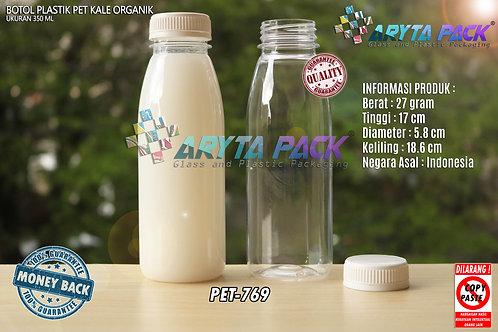 Botol plastik minuman 350ml jus organik tutup putih segel