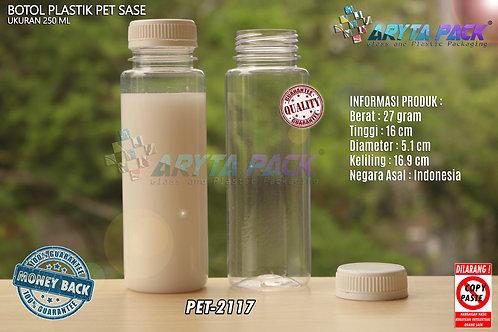 Botol plastik minuman 250ml jus kale sase tutup segel putih