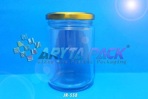 Jar kaca 500ml bulat tutup kaleng gold new