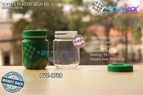 Toples plastik PVC 200ml selai kecil bulat tutup hijau