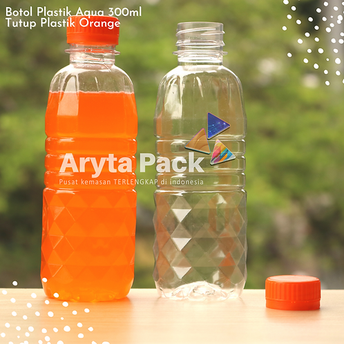 Botol plastik pet 300ml aqua tutup segel orange