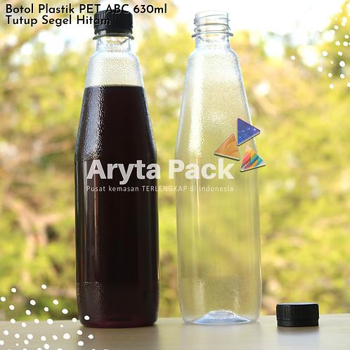 Botol plastik minuman 630ml ABC tutup segel hitam