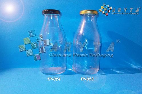 Botol kaca bening JUS 300ml new tutup emas kaleng