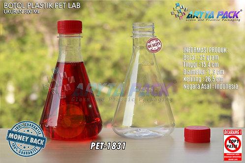 Botol plastik minuman 300ml lab tutup segel merah
