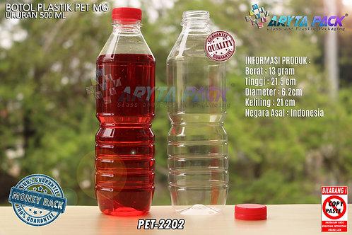 Botol plastik minuman 500ml mg tutup segel merah