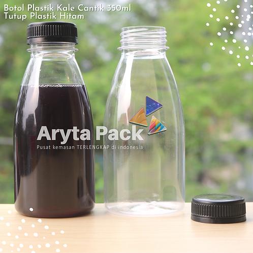 Botol plastik minuman kale cantik 350ml tutup segel hitam