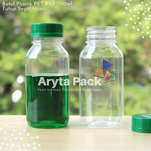 Botol plastik minuman 200ml bkb tutup segel hijau