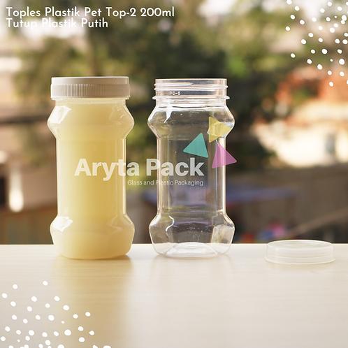 Toples plastik PET 200ml TOP-2 tutup putih
