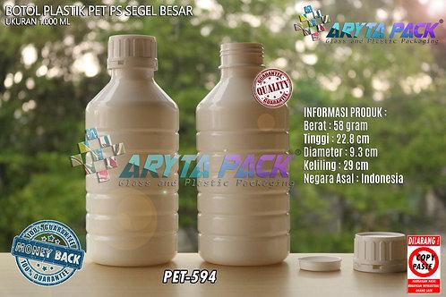 Botol plastik PET 1 liter PS putih susu tutup segel