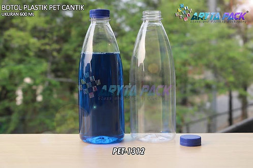 Botol plastik minuman cantik 600ml tutup segel biru