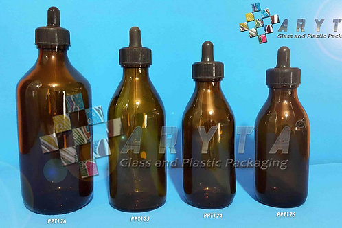 Botol kaca coklat 300ml new pipet hitam