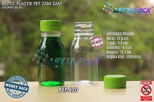 Botol plastik PET 80ml zam-zam tutup segel hijau