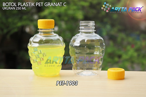 Botol plastik pet 250ml granat c tutup segel kuning