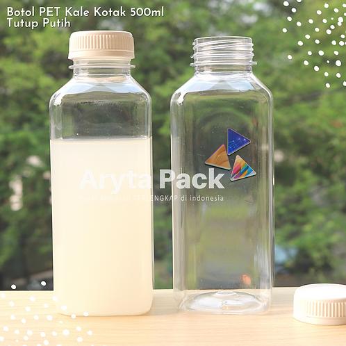 Botol plastik minuman 500ml jus kale kotak tutup putih segel