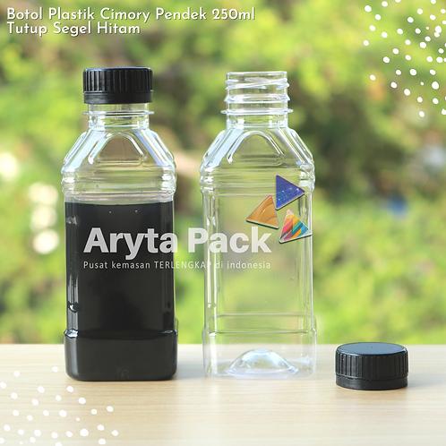 Botol plastik minuman 250ml cimory pendek tutup segel hitam