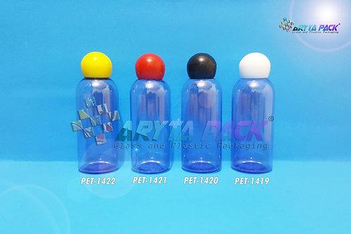 Botol plastik PET 60ml Lena ungu tutup globe hitam