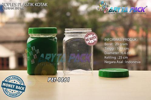Toples plastik PET 350ml kotak tutup hijau