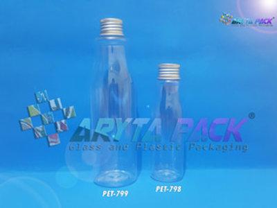 Botol plastik PET Amos 250ml  tutup kaleng silver