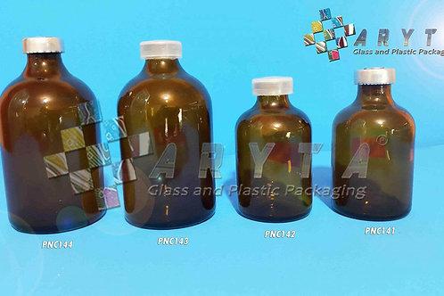 Botol kaca coklat 50ml injeksi new tutup aluminium