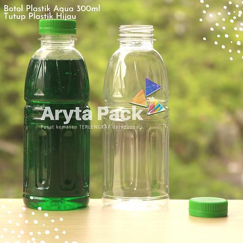 Botol plastik pet 300ml aqua aneka tutup segel hijau
