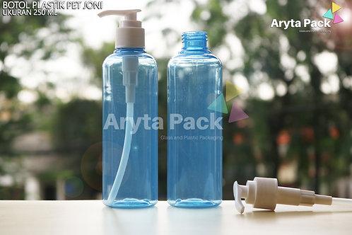 Botol plastik PET 250ml Joni biru tutup pump putih susu