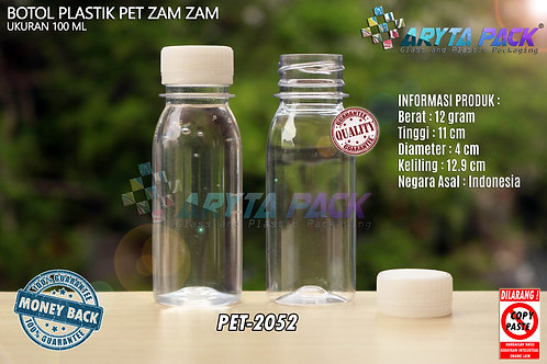 Botol plastik PET 100ml zam-zam tutup segel natural
