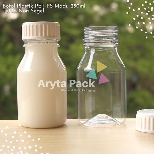Botol plastik PET 250ml PS tutup non segel