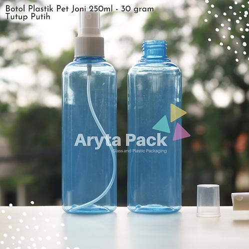 Botol plastik PET 250ml joni biru tutup spray putih susu