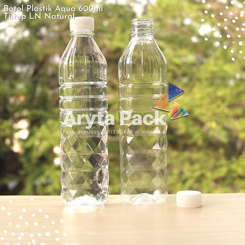 Botol plastik pet 600ml aqua tutup segel natural