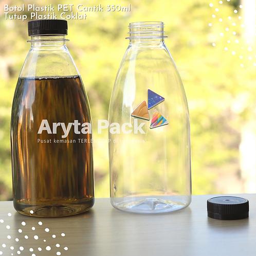 Botol plastik minuman cantik 350ml tutup segel coklat